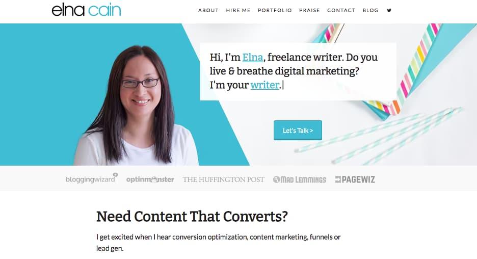 Elna Cain portfolio site.