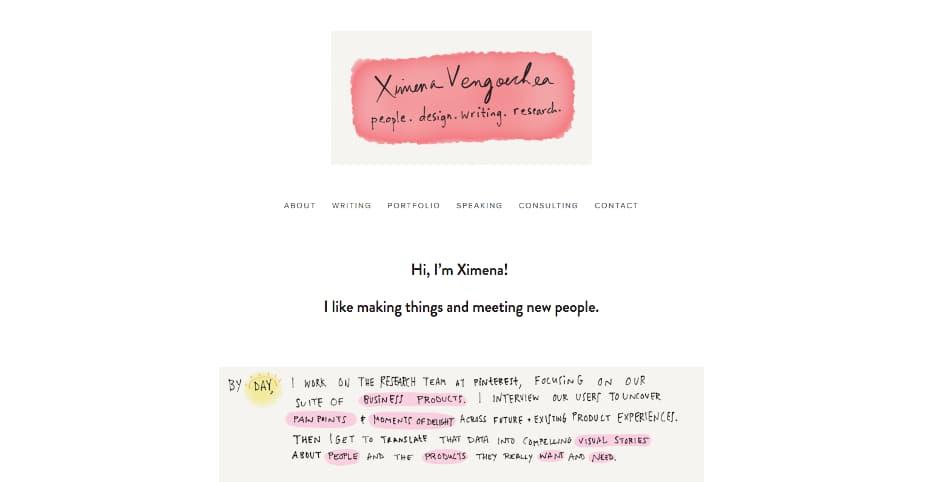 Creative online portfolio by Ximena Vengoechea.