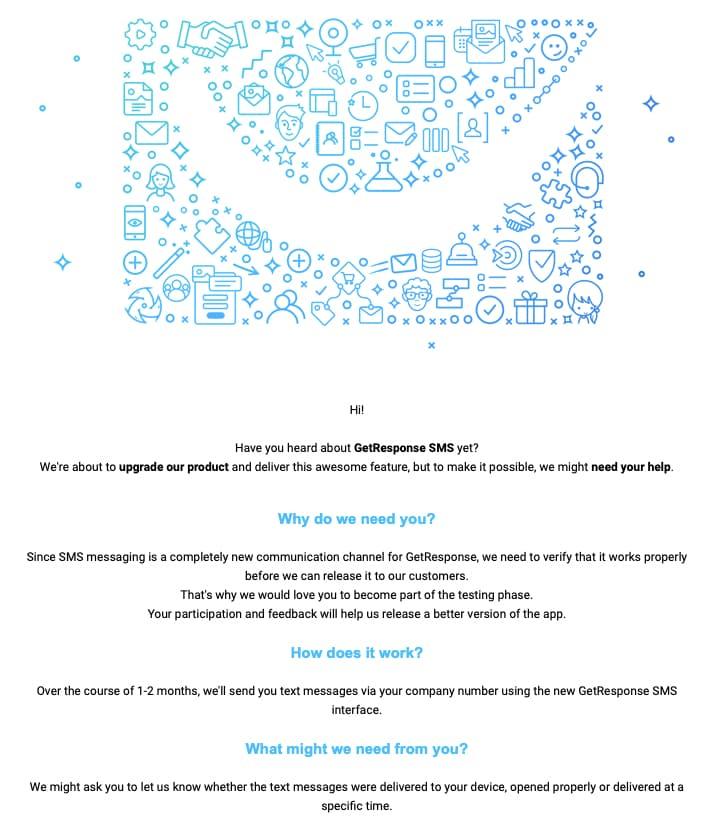 Корпоративная рассылка GetResponse приглашение протестировать продукт