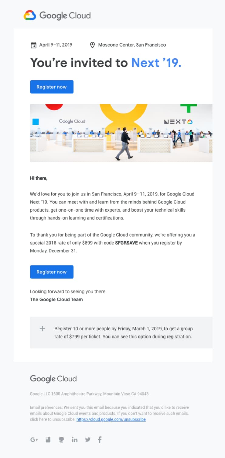 Google cloud invitation email template.