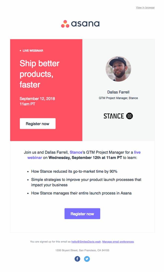 Asana invitation email example.