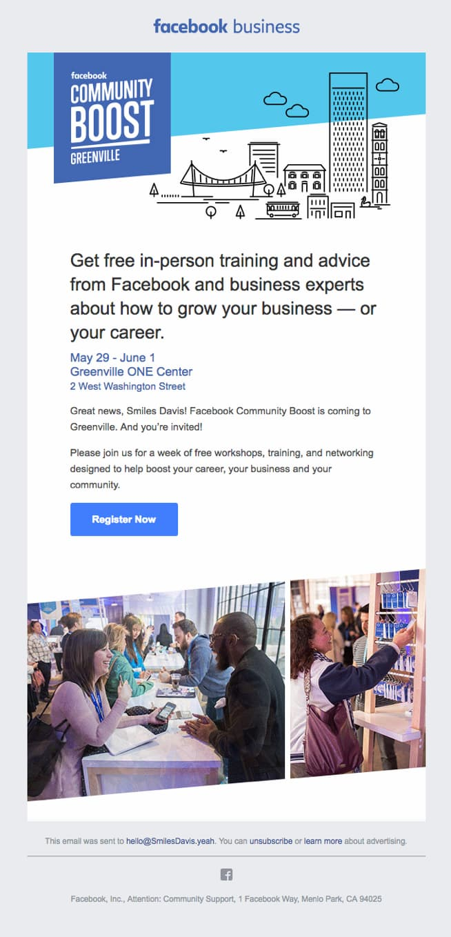 Facebook business invitation email.