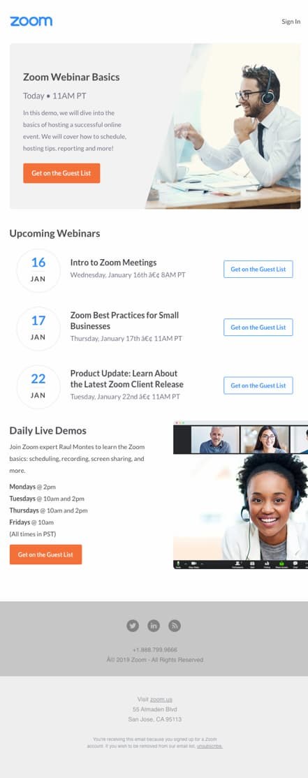 Zoom webinar invitation email featuring upcoming events.