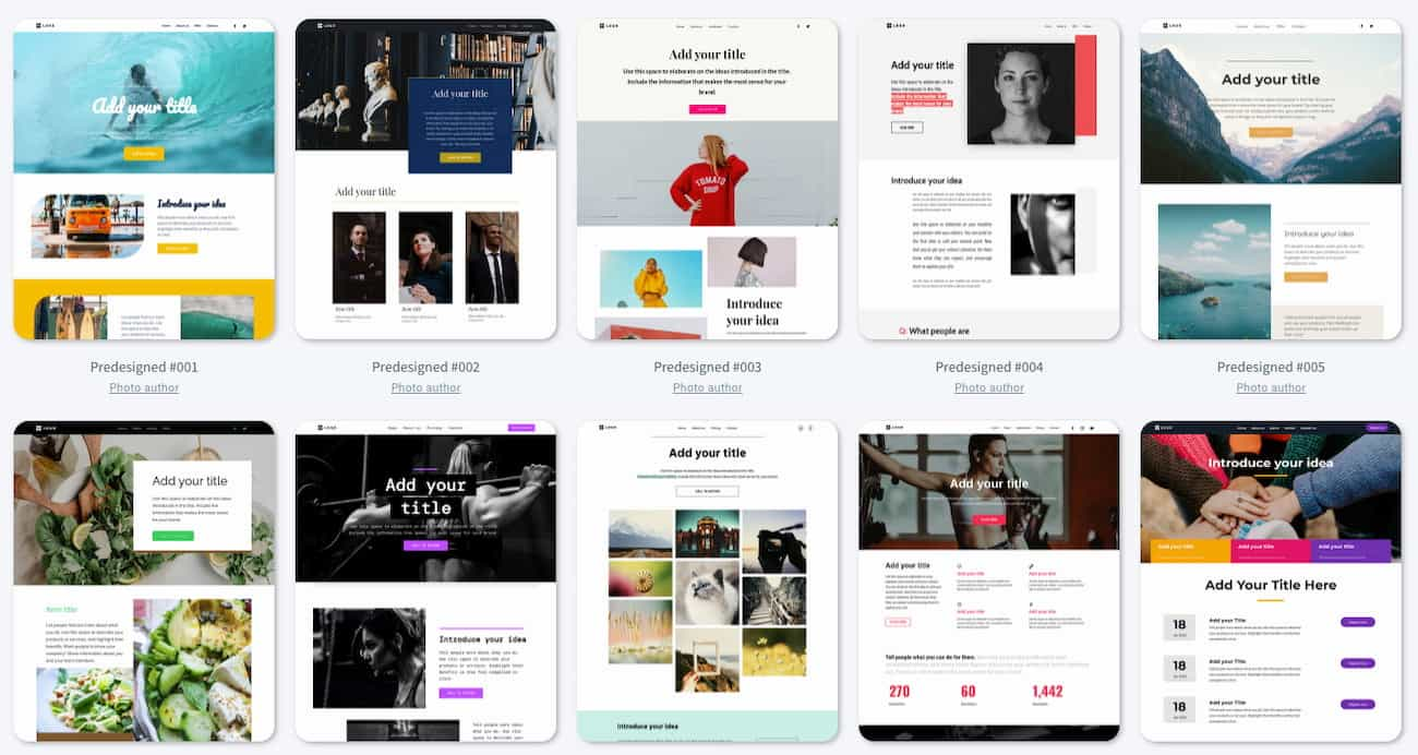 Examples of website templates available in GetResponse Website Builder.