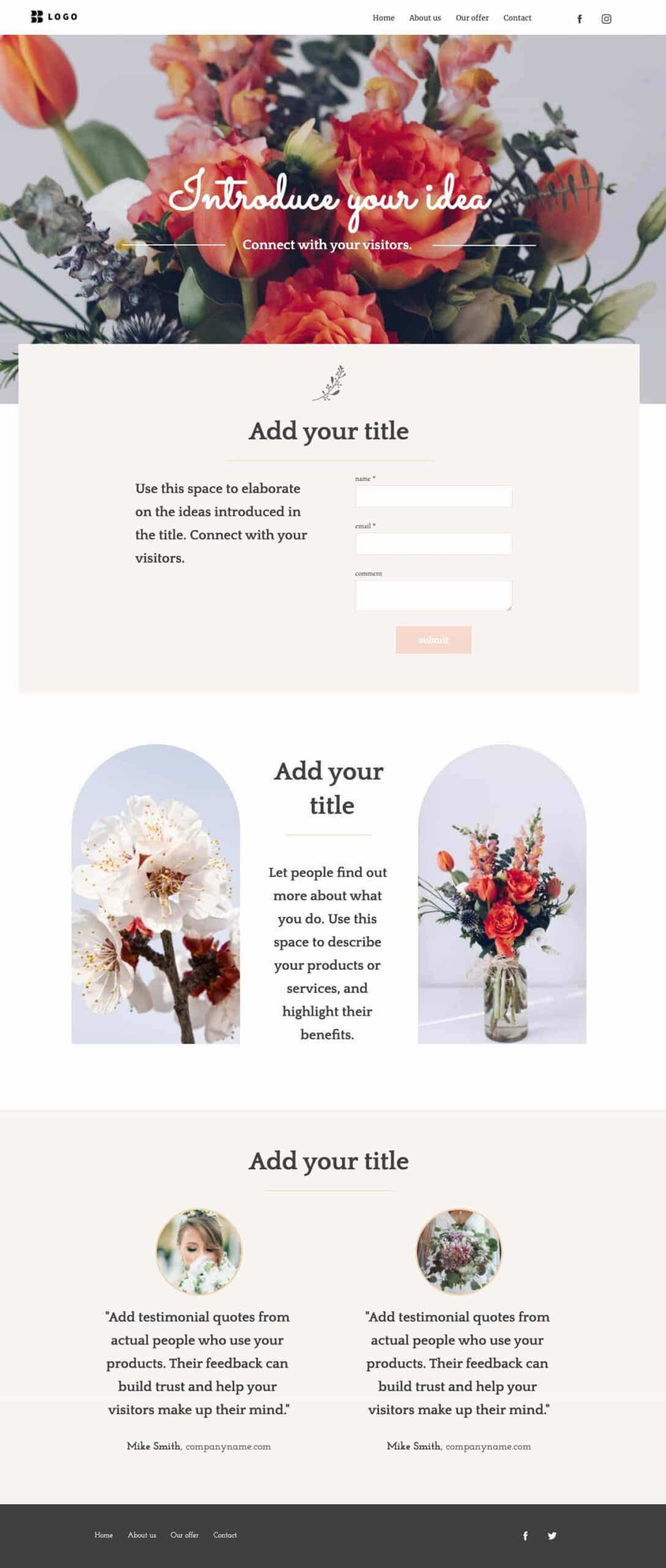 Homepage example from one of the GetResponse website templates.