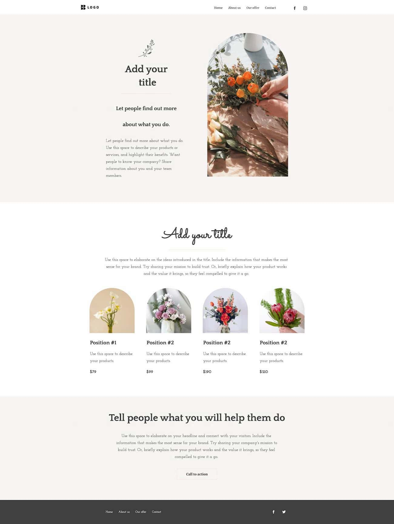 Offers page example from one of the GetResponse website templates.