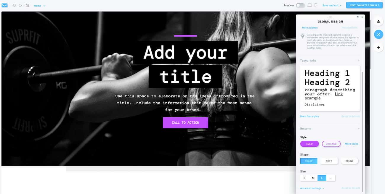 Add your content and customize the website templates to match your branding. Image: GetResponse Website Builder.