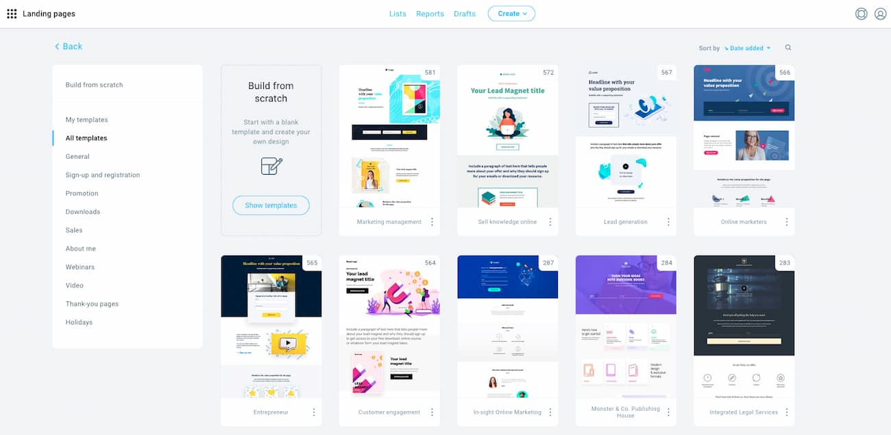 Best lead generation landing page templates from GetResponse.