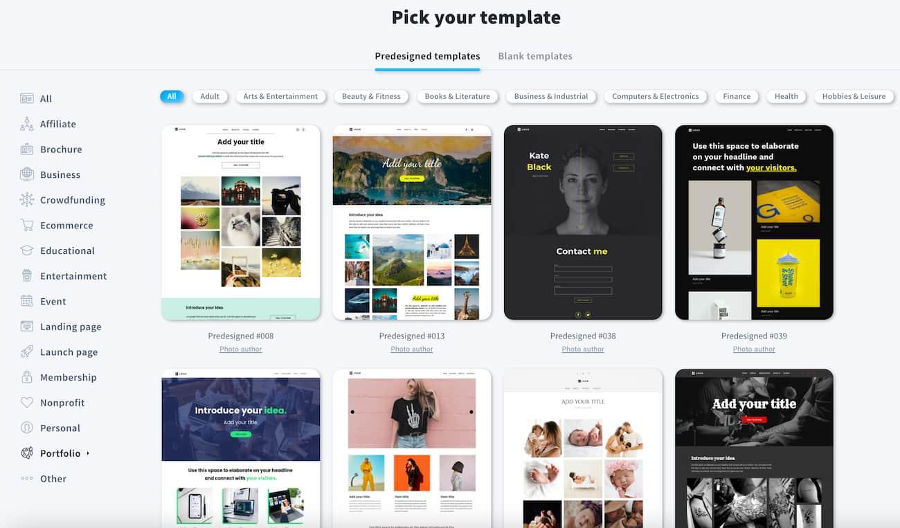 Online portfolio templates - GetResponse Website Builder.