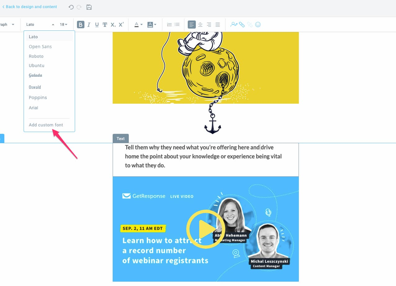 Adding custom fonts in GetResponse Email Creator.