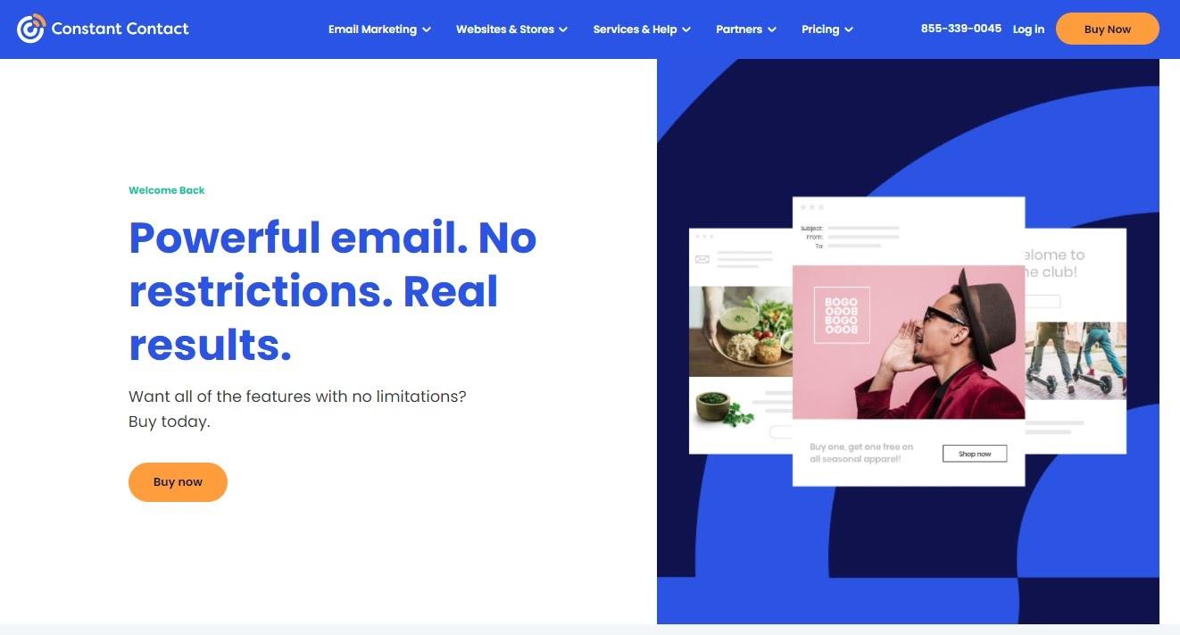 Constant Contact homepage screenshot.