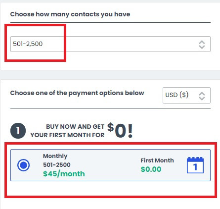 Constant Contact's basic plan cost.