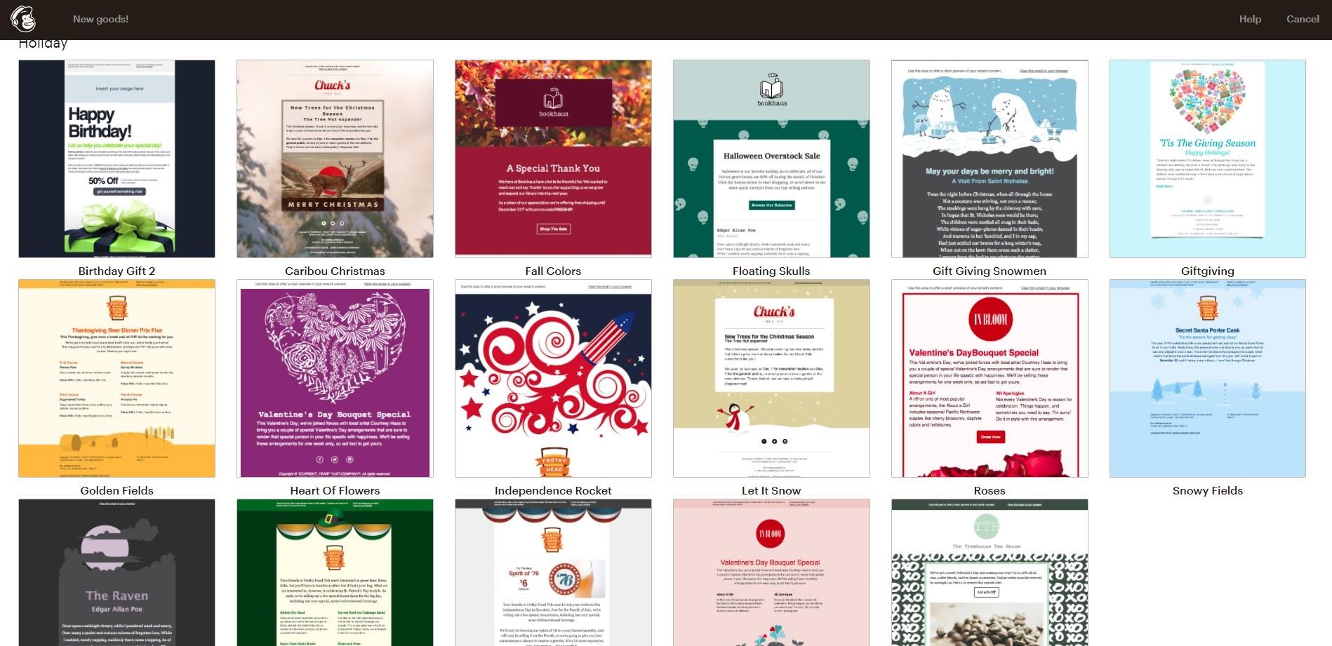 Mailchimp templates.
