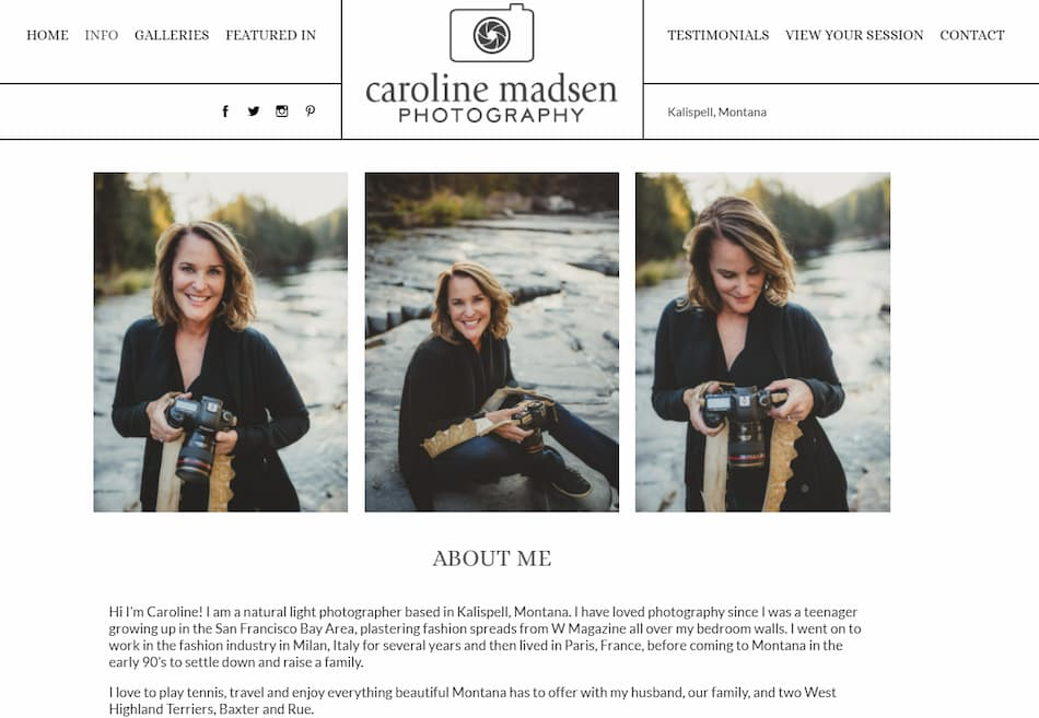 Caroline Madsen Photographer About Me Page.
