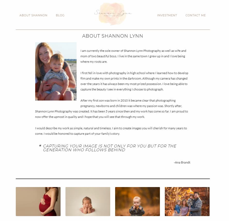 About me page featuring photography portfolio from Shannon Lynn.