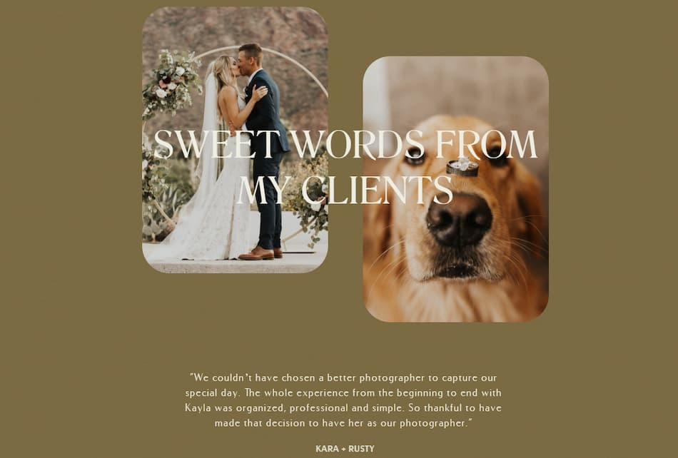 Kayla Fisher photographer about me page featuring client testimonials.