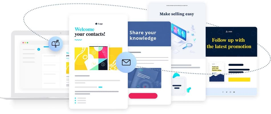 Visual representing features of an email marketing service.