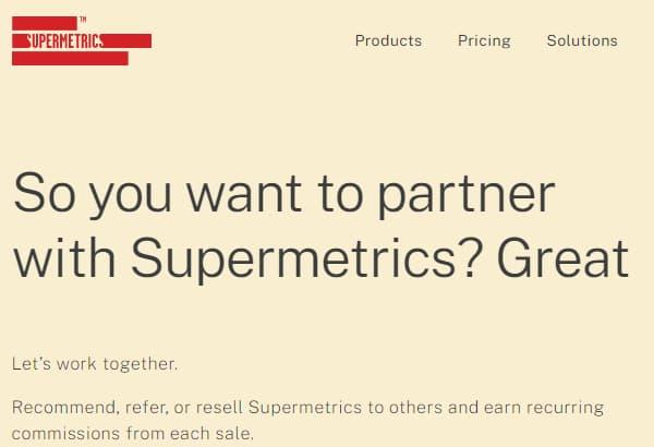 Supermetrics Affiliate program page.
