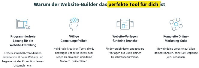 Infografik, warum der GetResponse Website-Builder das Tool für dich ist