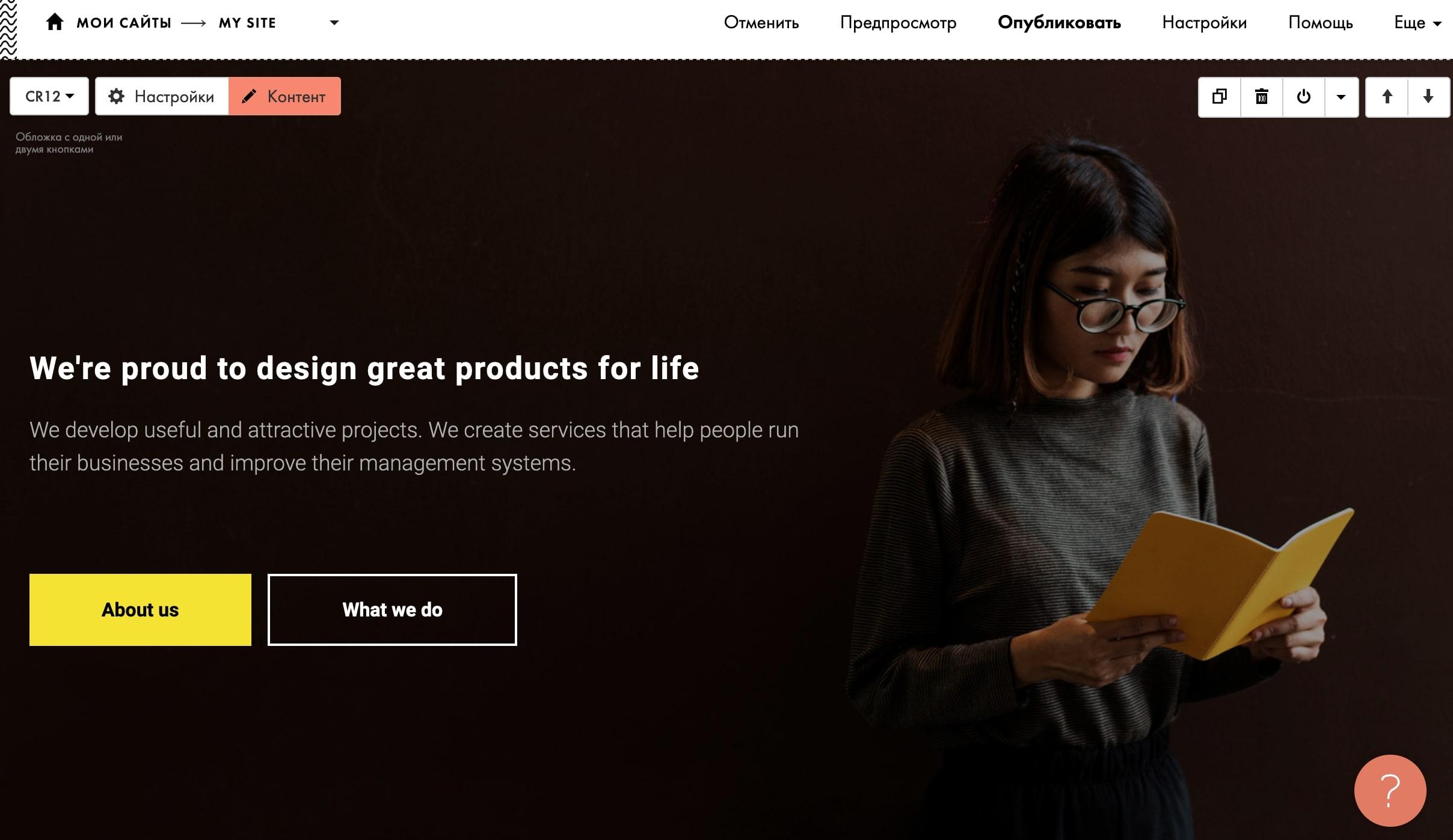 Конструктор сайта Тильда - внешний вид