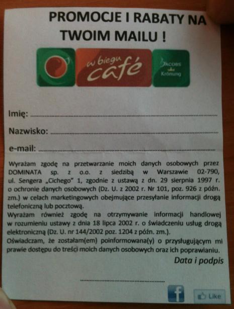Papierowy Formularz Zapisu