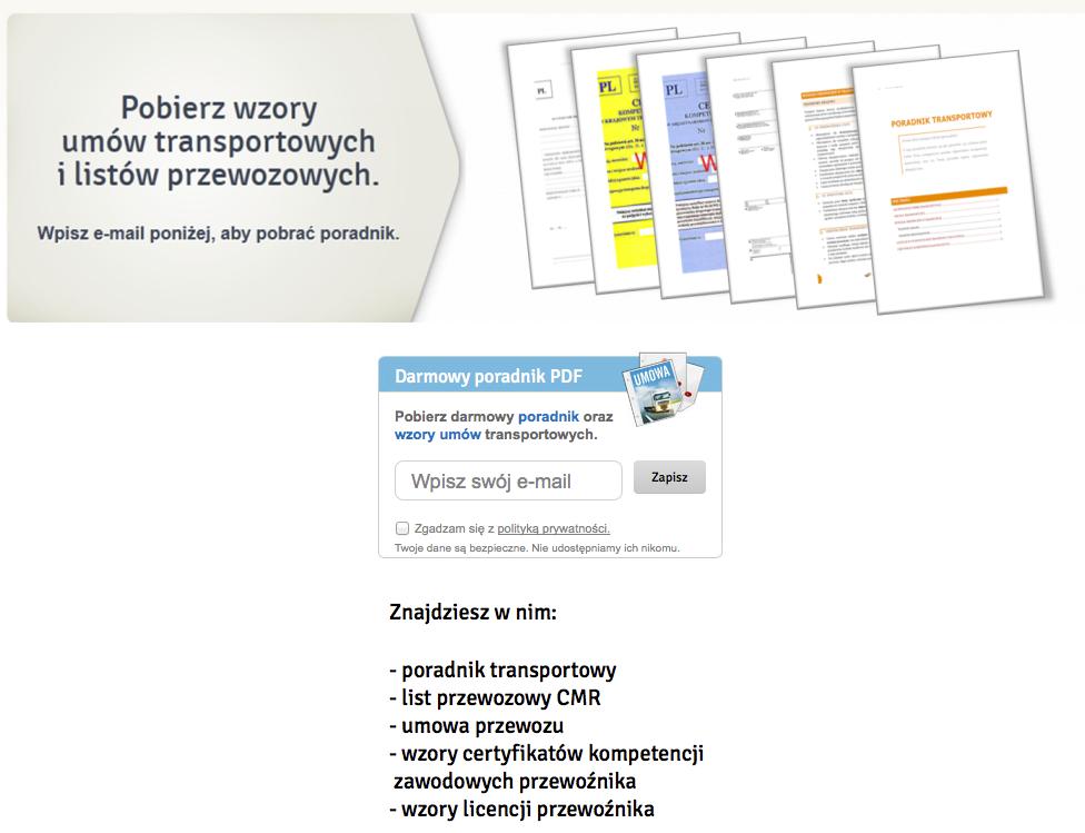 Formularz zapisu Clicktrans.pl z poradnikiem