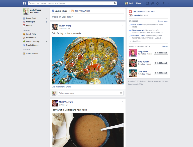 Nowy Newsfeed Facebook