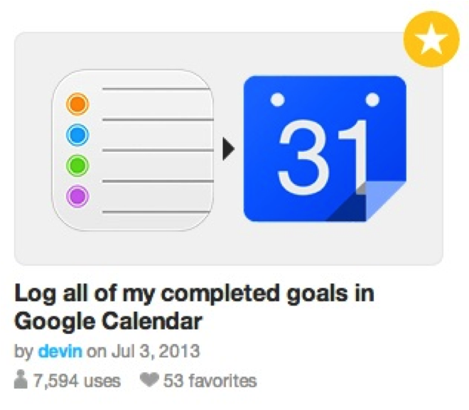 Log completed goals in Google Calendar