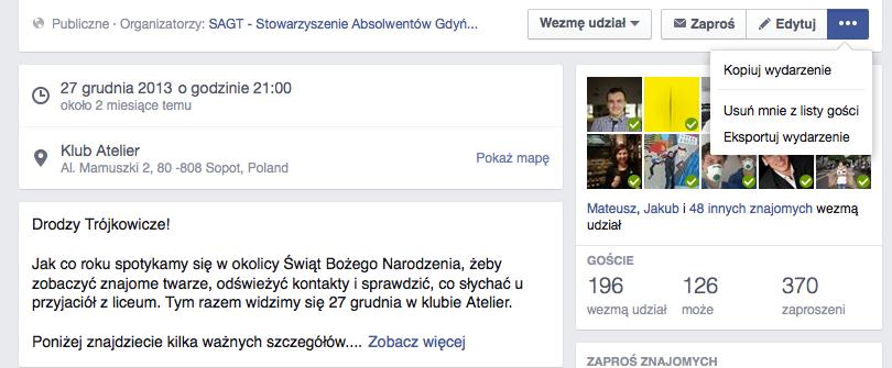 Kopiuj wydarzenie funkcja facebook