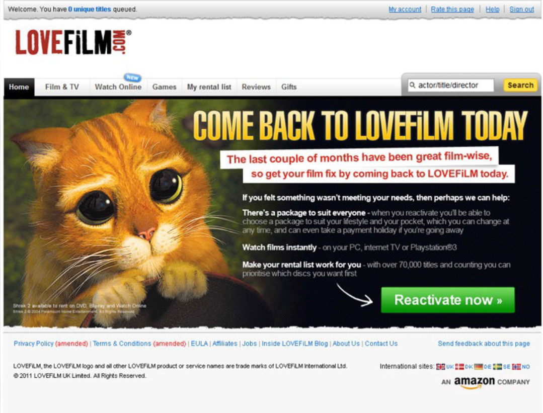 Wiadomość reaktywacyjna Lovefilm.com