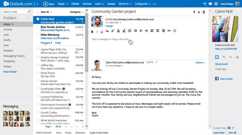 Odpowiedz w tym samym oknie w Outlook