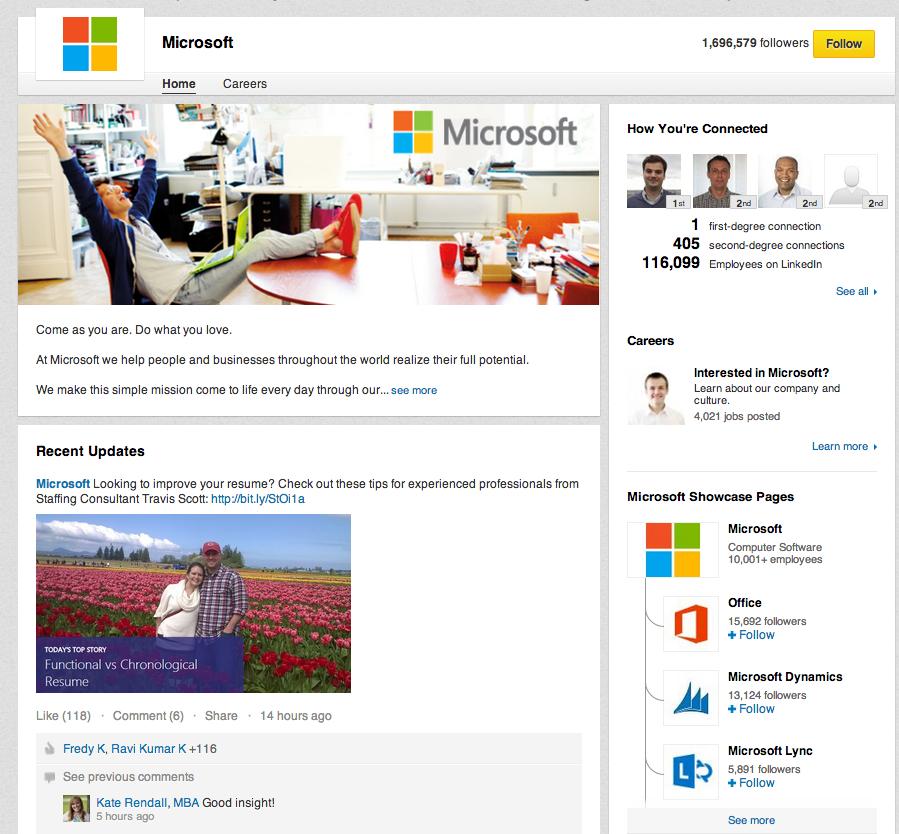 Profil firmowy Microsoft