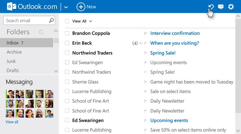 Opcja cofnij w Outlook