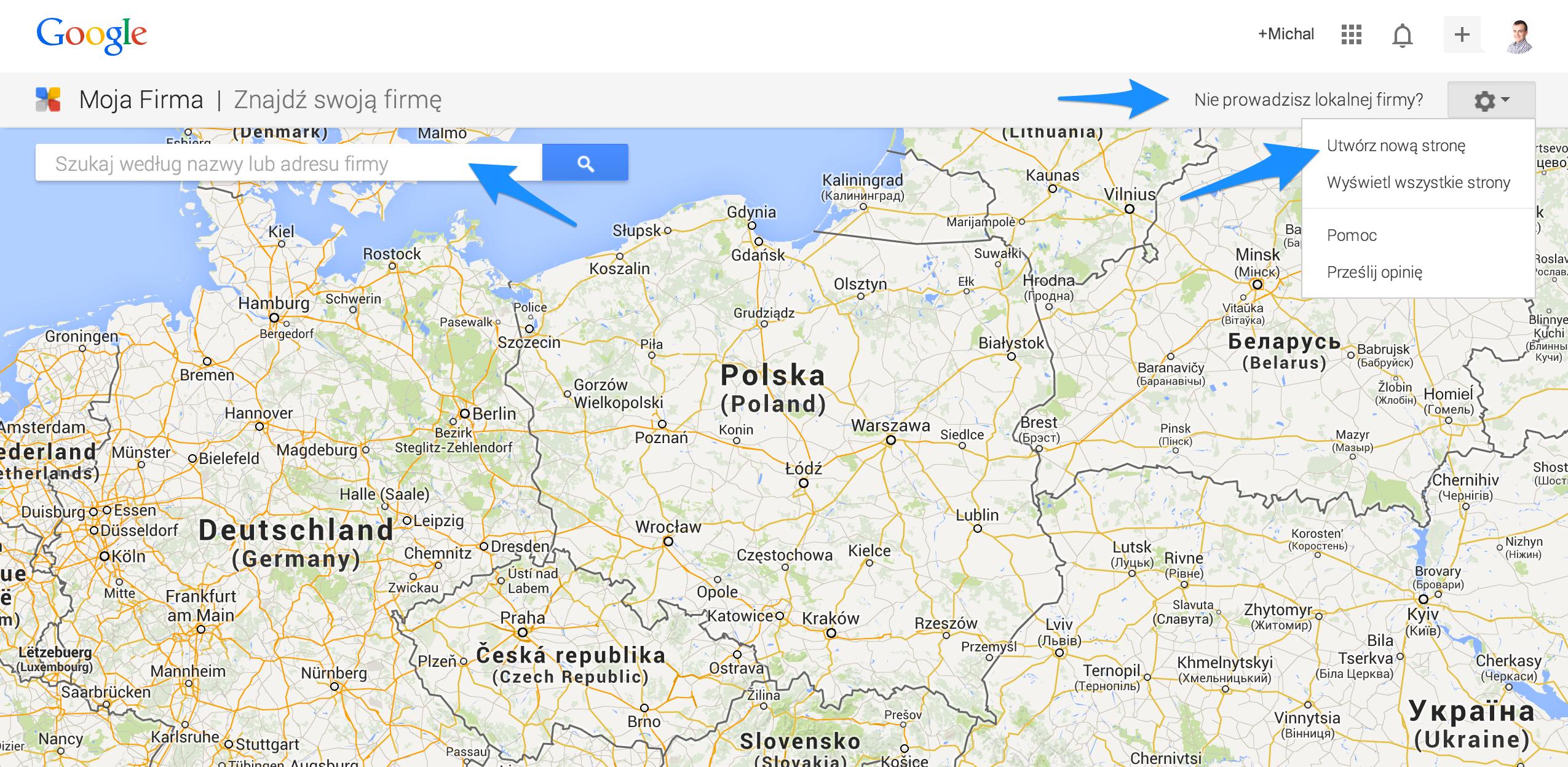Google Moja Firma Mapa