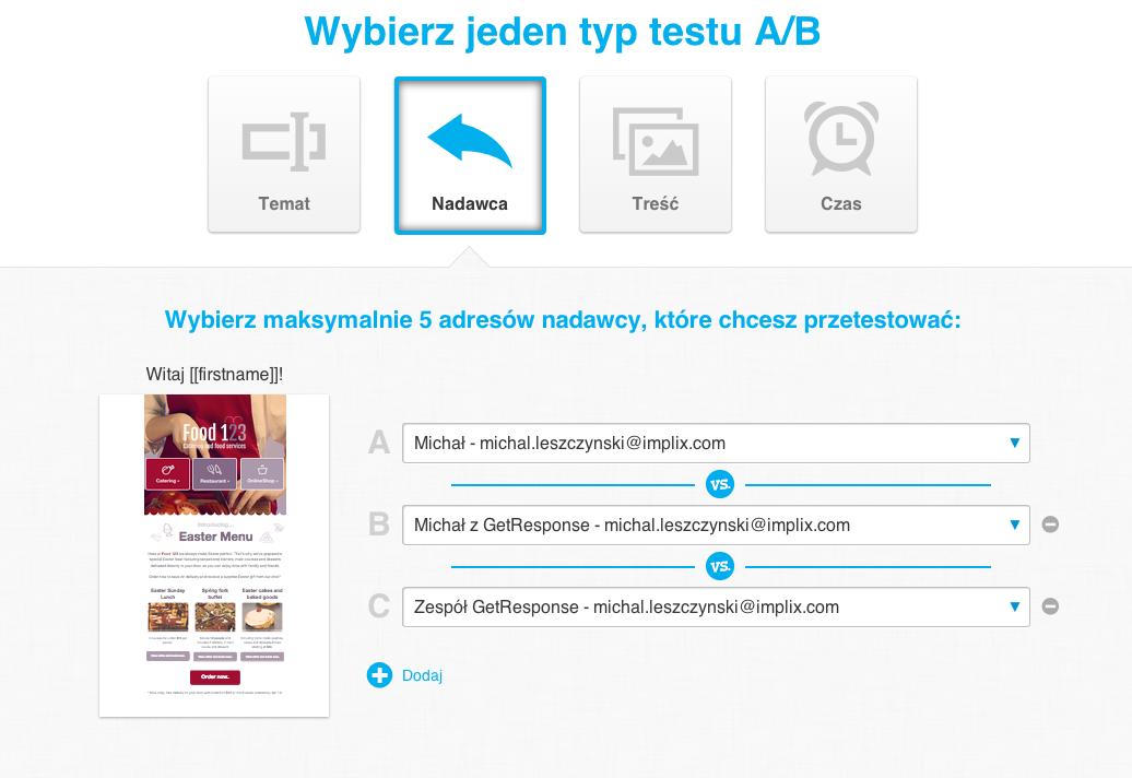 Testy AB GetResponse
