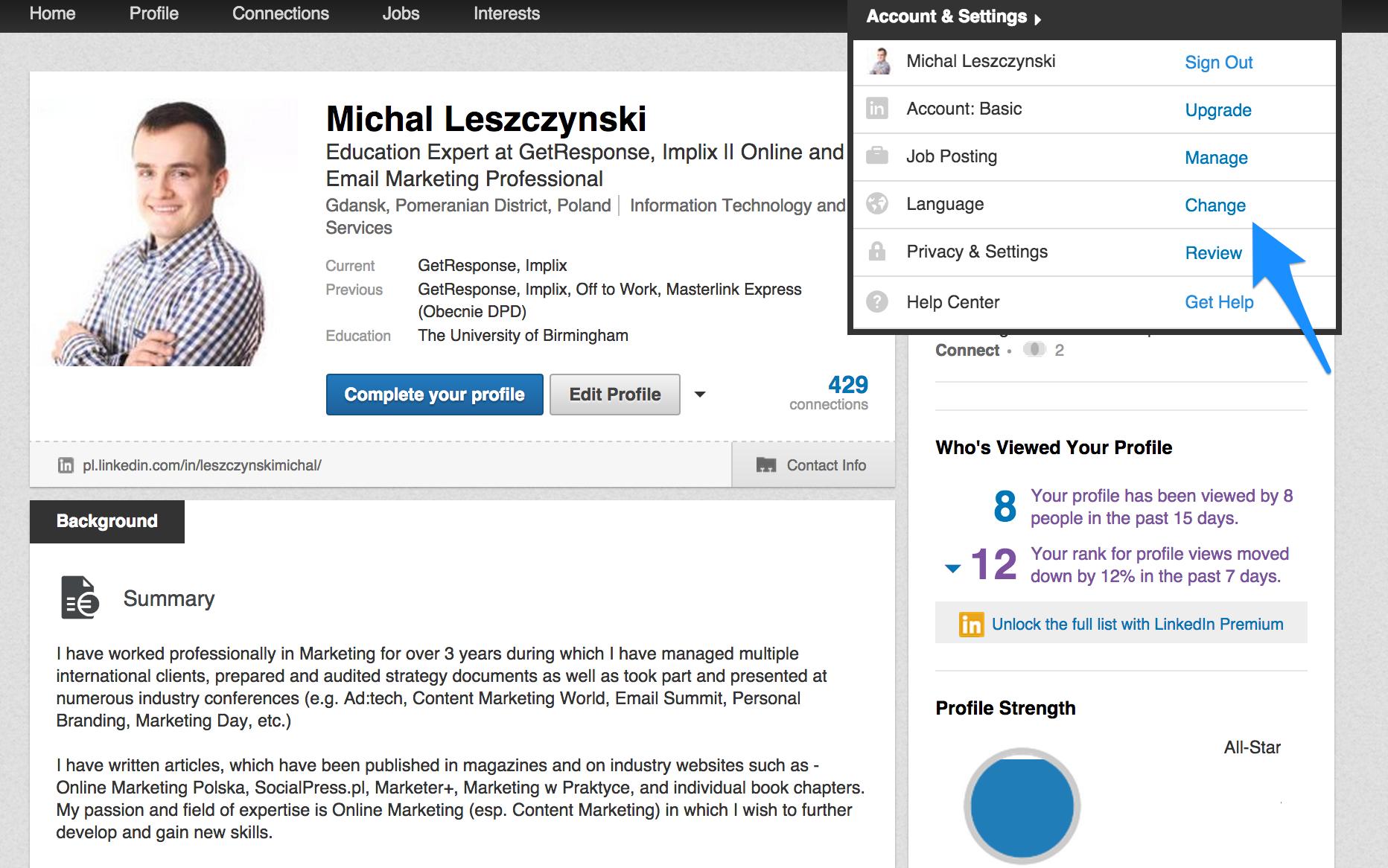LinkedIn 6 - Zmiana języka