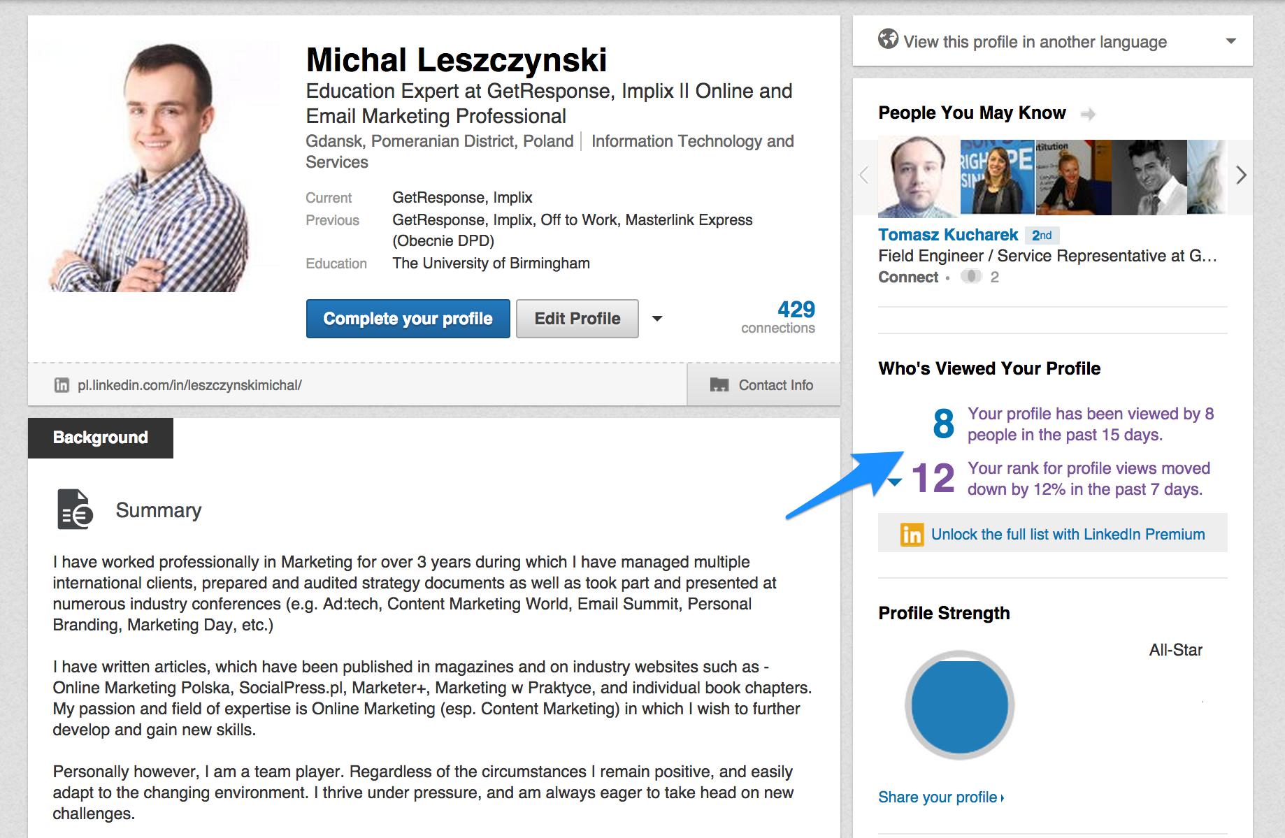 LinkedIn 1 - kto wyświetlał Twój profil