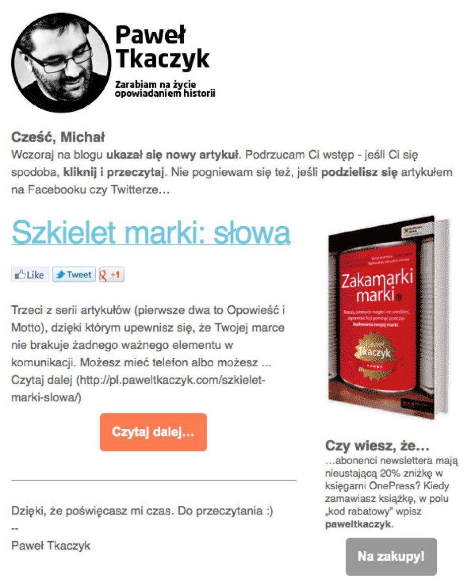 Paweł Tkaczyk – jedna z wiadomości z cyklu Szkielet marki