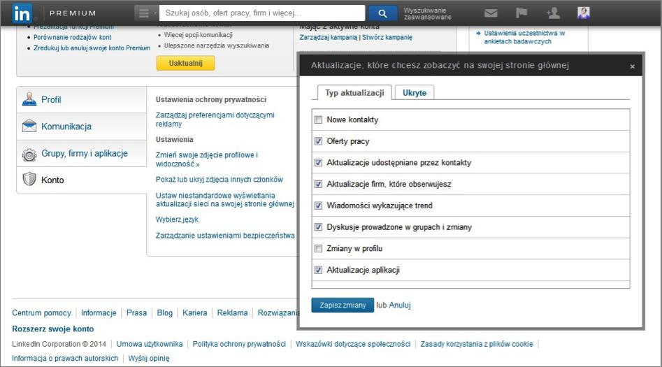 LinkedIn, Niestandardowe wyświetlenia aktualizacji na stronie głównej