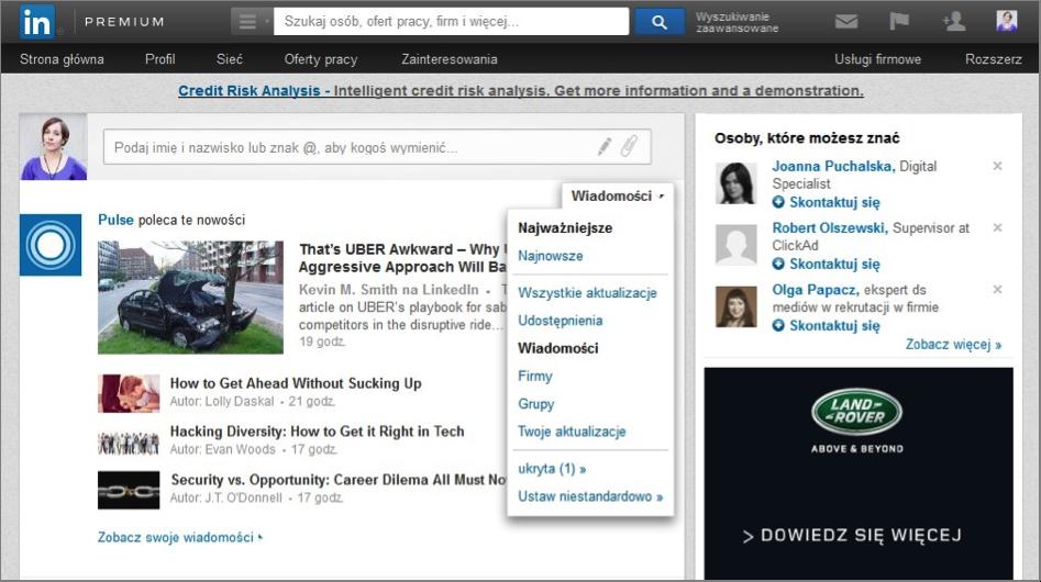 LinkedIn, Strona główna