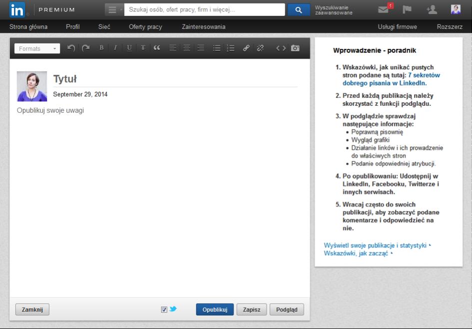 Publikowanie pełnych artykułów na LinkedIn