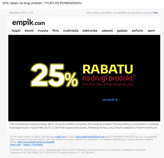 Newsletter świąteczny Empik
