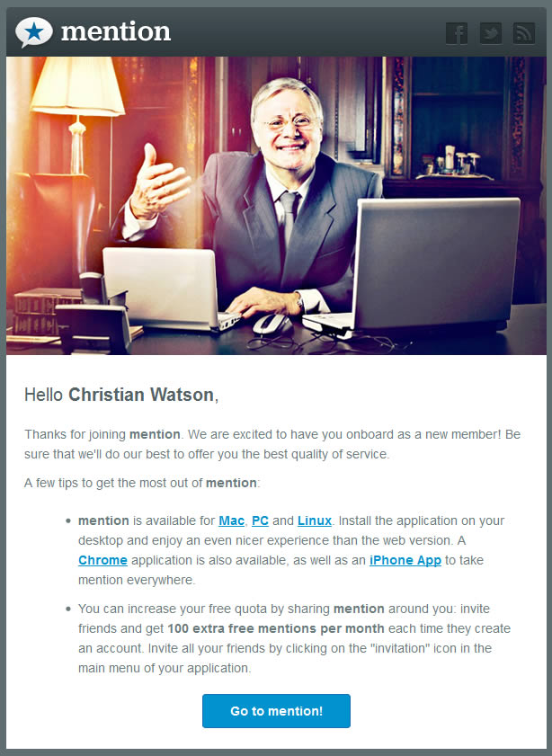 Mention Welcome Email