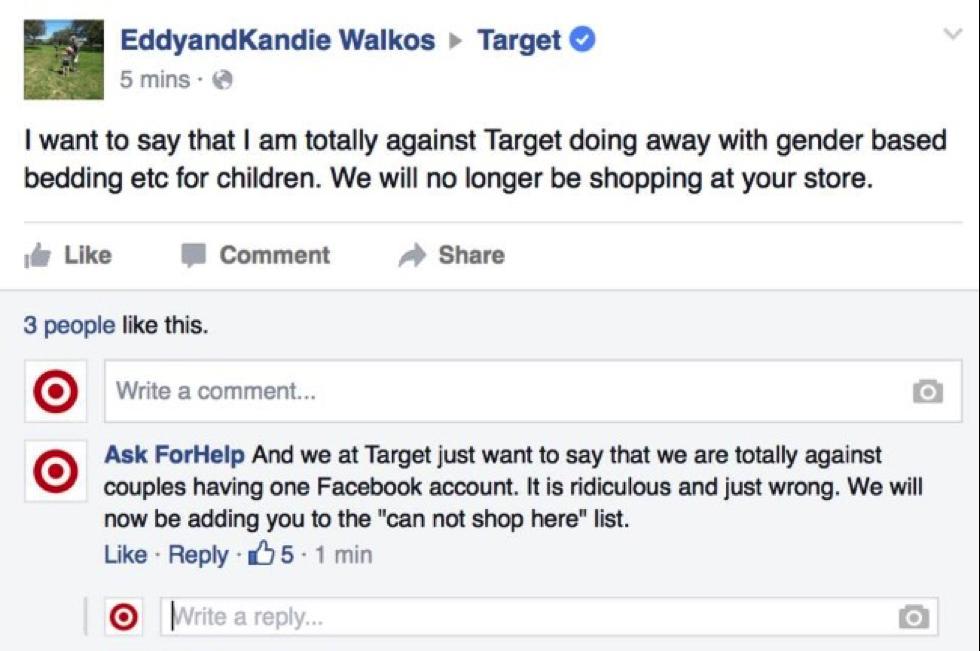 """Niezbyt grzeczna odpowiedź na fałszwym profilu amerykańskiej marki Target, która padła ofiarą brandjackingu: """"Nasza firma jest przeciwko parom zakładającym wspólny profil na Facebooku. To niedorzeczne i po prostu złe. Od tej pory dodajemy was do czarnej listy naszych klientów."""""""