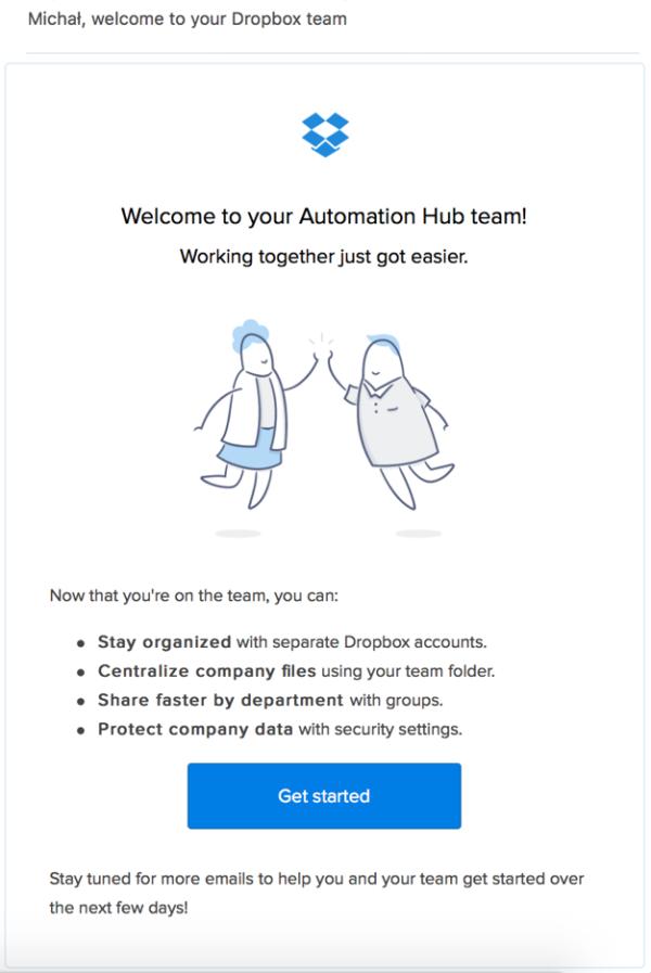 Пример велком-письма новому клиенту от Dropbox