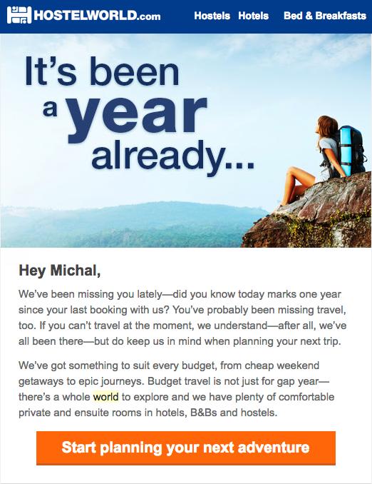 Емейл письмо, которое использует идеальное время для того, чтобы напомнить туристам об их прошлом опыте