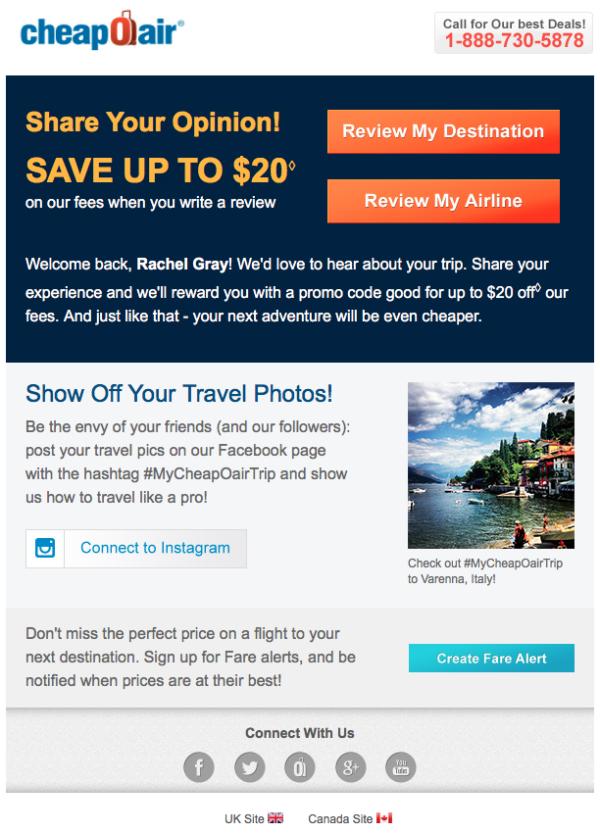 Письмо от Cheaponair, в котором компания просит оставить отзыв о путешествии на туристическом сайте
