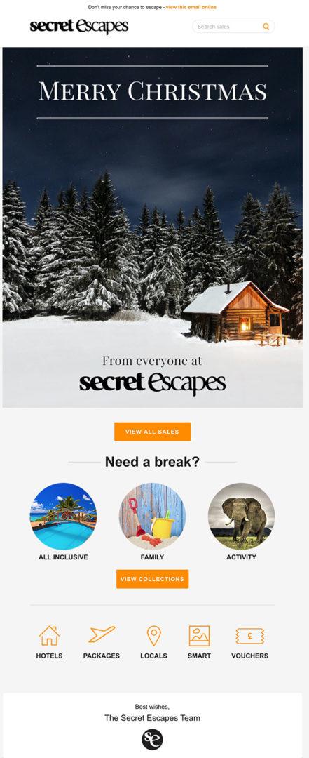 Велком-письмо от Secret Escapes для клиентов туристического сайта с конкретным предложением