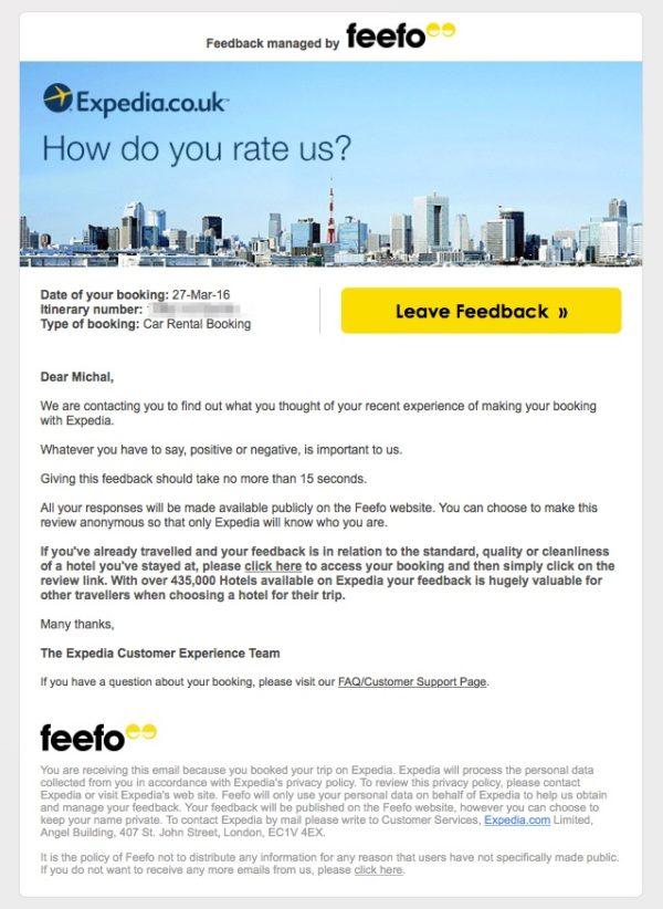 Автоматическое письмо от Feefo, в котором компания просит оставить отзыв