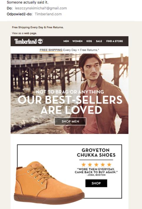 Письмо от Timberland с рекомендациями продуктов и рейтингом в виде звездочек